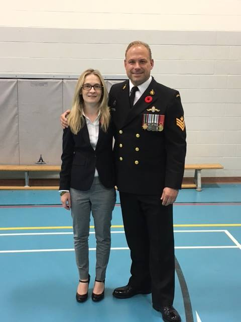 Amy Remembrance Day 2016 with Royal Canadian Navy veteran Paul Trimble