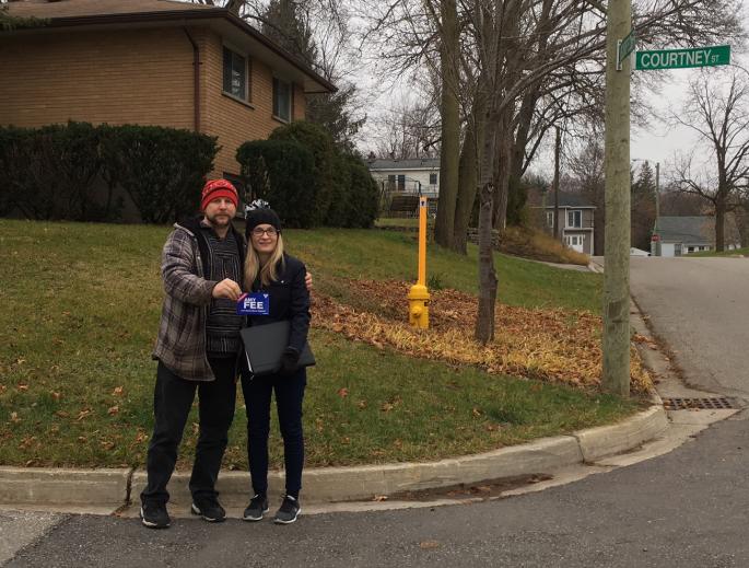 Amy knocking on doors in Hespeler - December 2016