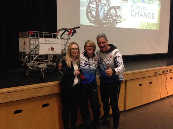 Amy Fee with Marie Roberts and Joe Roberts (thepushforchange.com) at St. Mary's on Day 233